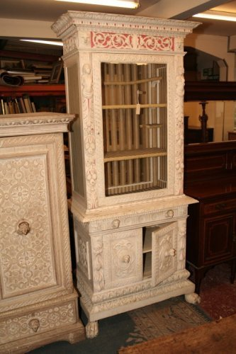 934: A Continental carved and painted cabinet, 3ft 4ins