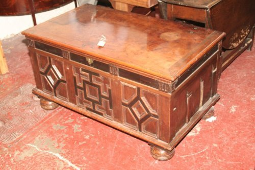 949: A 19th century Continental yew and ebonised coffer