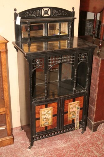 950: A Victorian Aesthetic Movement ebonised cabinet, 2
