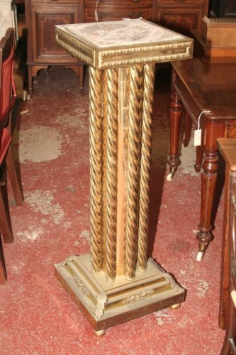 951: A gilt brass and marble top torchere, 1ft 2.5ins