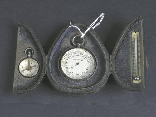 1328: A cased Victorian travelling silver barometer, co