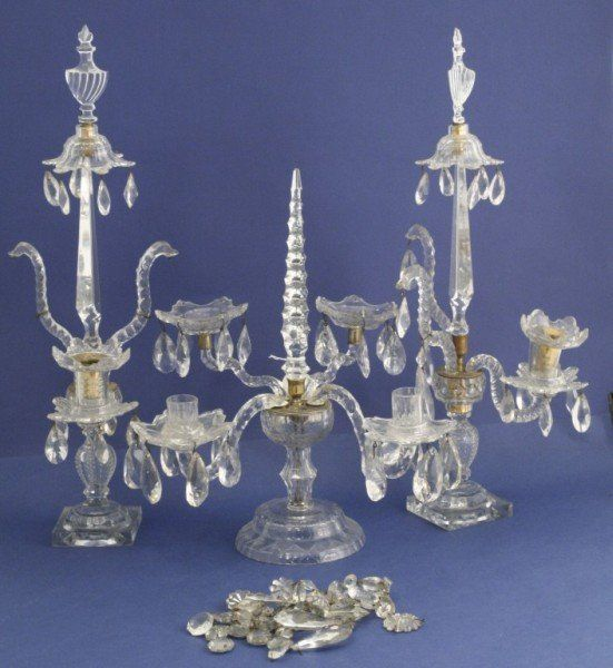 391: *Pair early Victorian cut glass table lustres & ne