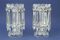 398: A pair of Victorian glass table lustres, 9in.