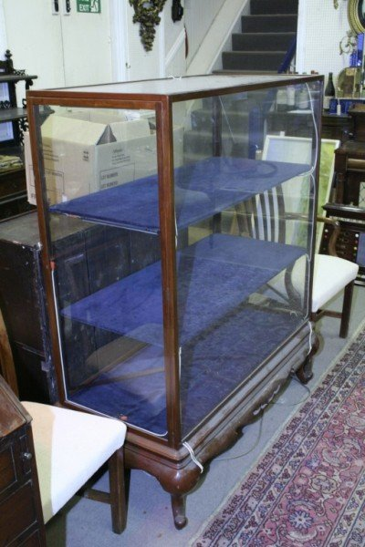 1014: A mahogany display cabinet, 3ft 9ins