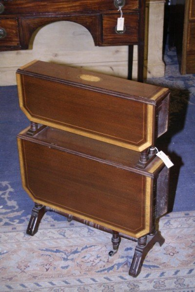 1020: An Edwardian banded mahogany two tier Sutherland