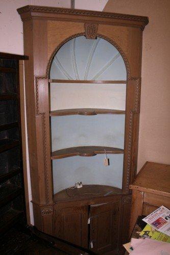 1031: A Georgian design pine corner display cabinet, 3f
