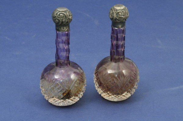 1628: Pair of late Victorian cut amethyst and clear gla
