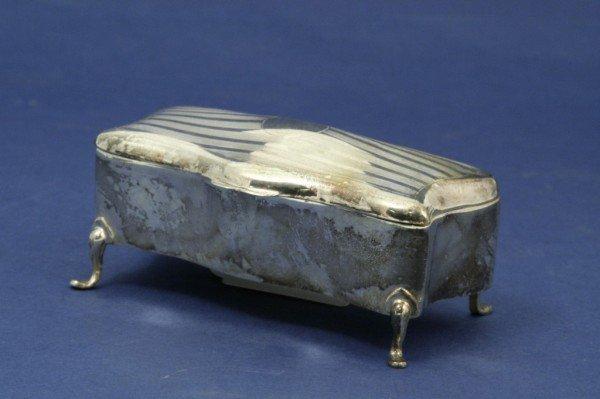 1638: *An Edwardian silver plated serpentine trinket bo
