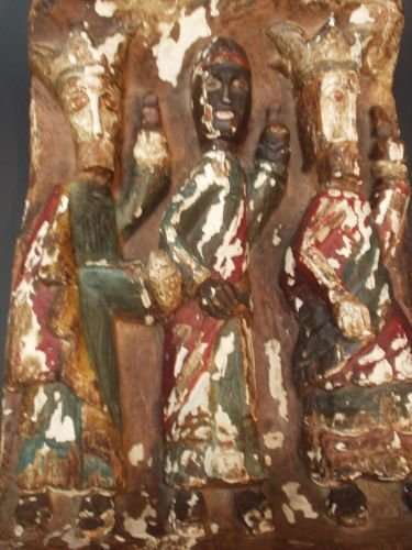 13E: A Spanish carved wood, gesso and painted semi-reli