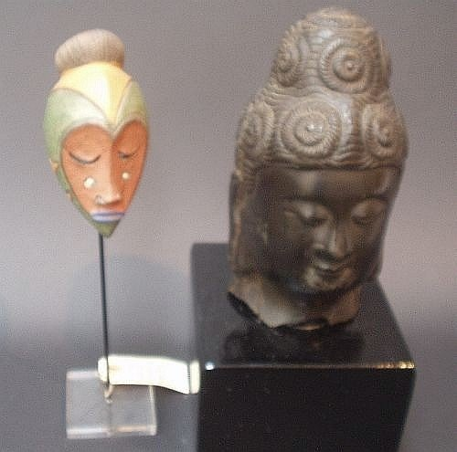 14E: A Baule wood mask, Gabon heads & bronze head