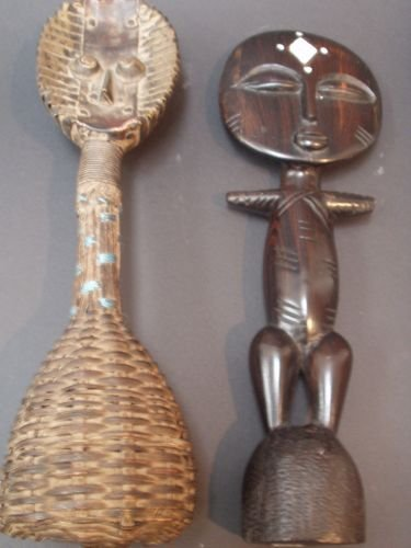 15E: A Gabon wood, metal and basketweave rattle and a W