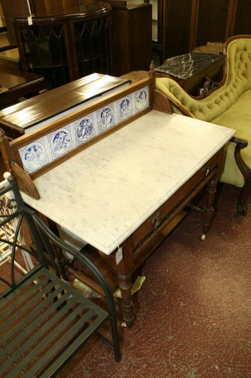 848: A Victorian marble top pine washstand, 3ft 5.5ins
