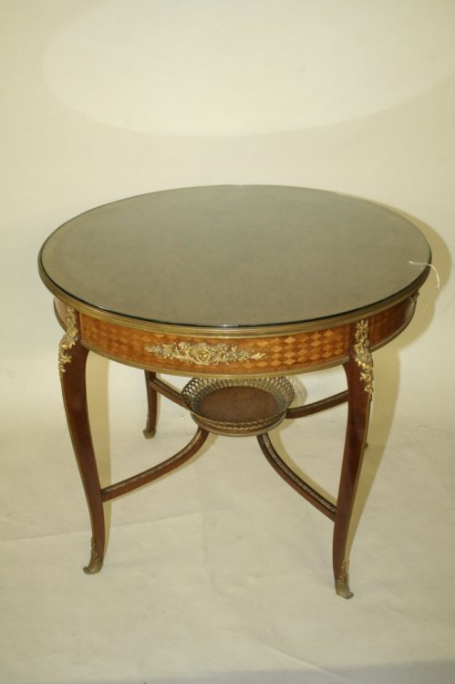 950: A late 19th century French walnut marquetry and gi