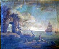 2435: Late 18th C. Italian School Coastal scene with fi