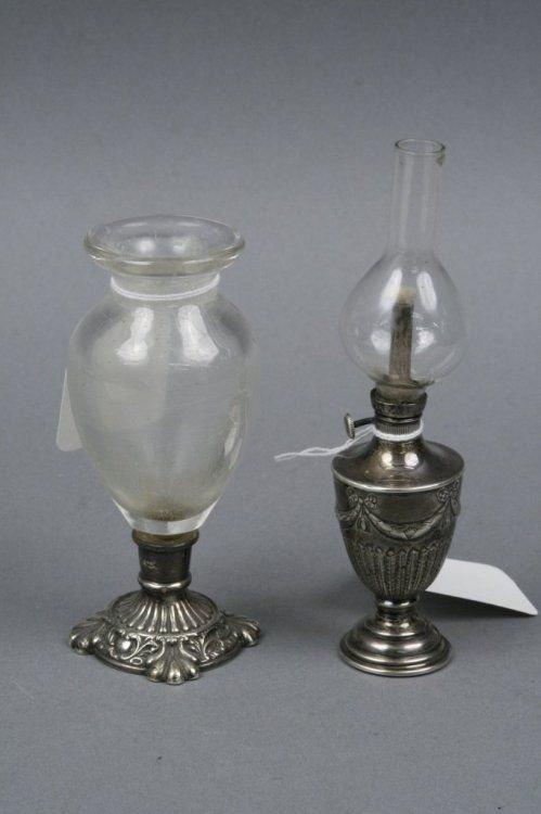 1584A: A Victorian miniature silver oil lamp,