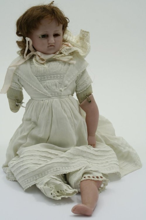 3: A 19th century wax doll, 22in. - missing parts