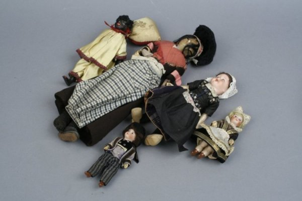 4: A wax-over-composition doll & 4 other dolls