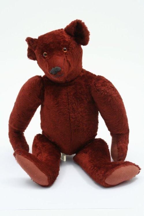 15: An unusual red plush Teddy bear, 17in.