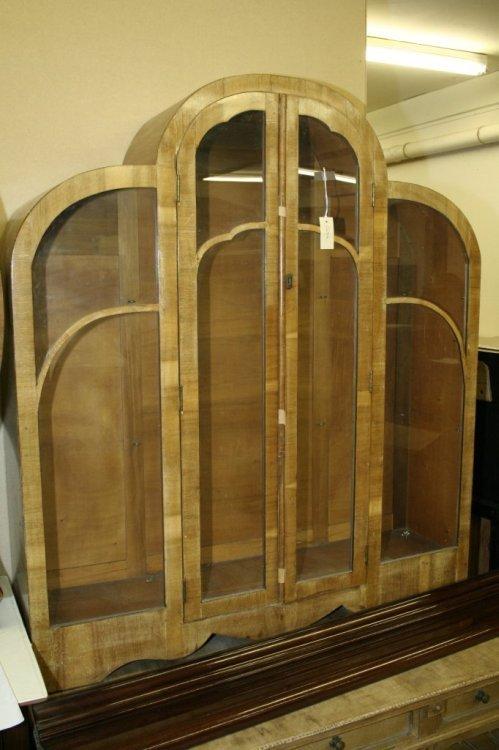 943: An Art Deco walnut display cabinet, 3ft 9ins