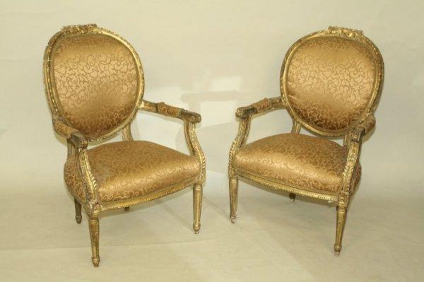 945: A pair of Louis XVI design giltwood armchairs,