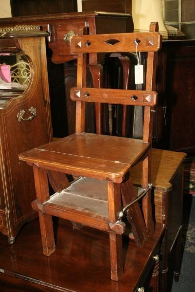 947: A late Victorian walnut metamorphic library steps