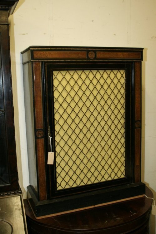 956: A Victorian inlaid ebonised pier cabinet, 2ft 6ins