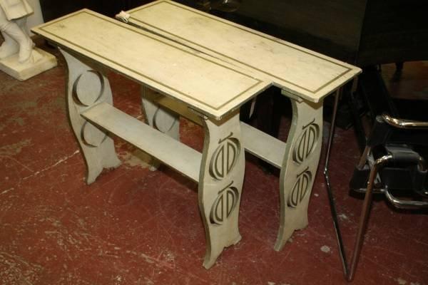 957: A pair of Regency design painted two tier side tab