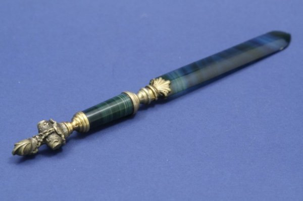 1548: A Victorian ormolu mounted the agate paperknife,