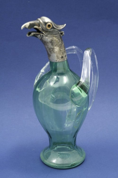 1553: A late Victorian silver and green glass novelty l