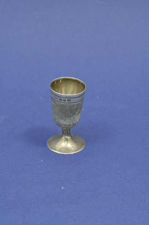 1563: A Victorian silver 'thimble' goblet, 2ins