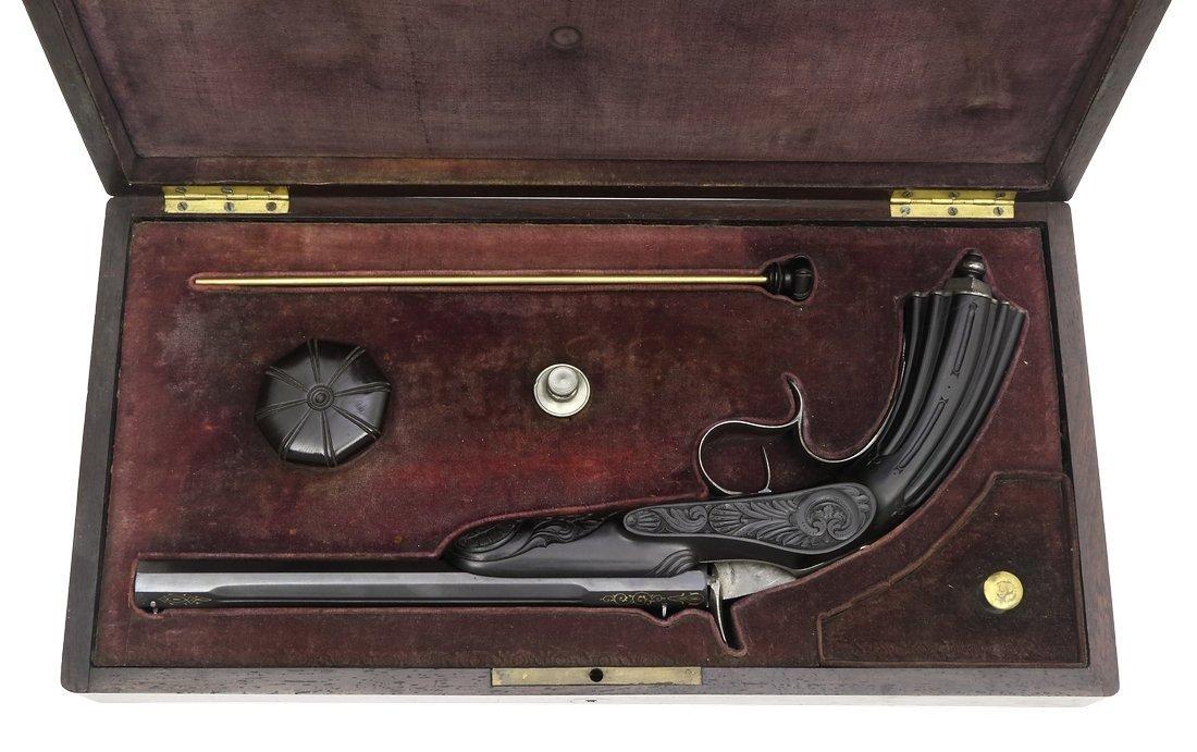 Cased Target Pistol, Belgian ca. 1860, cal. .22