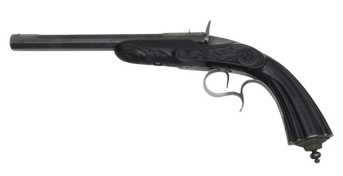 Cased Target Pistol, Belgian ca. 1860, cal. .22 - 2