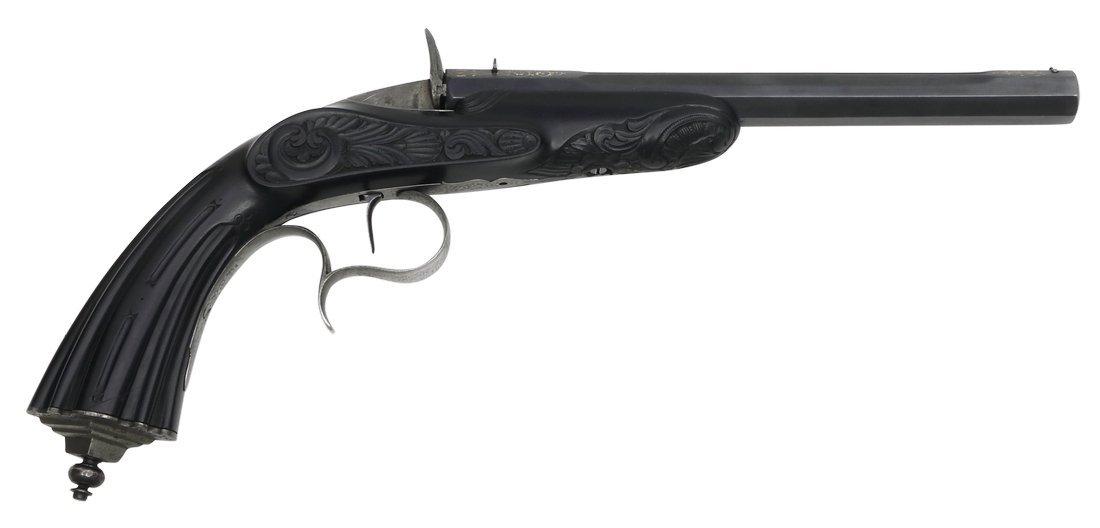 Cased Target Pistol, Belgian ca. 1860, cal. .22 - 3
