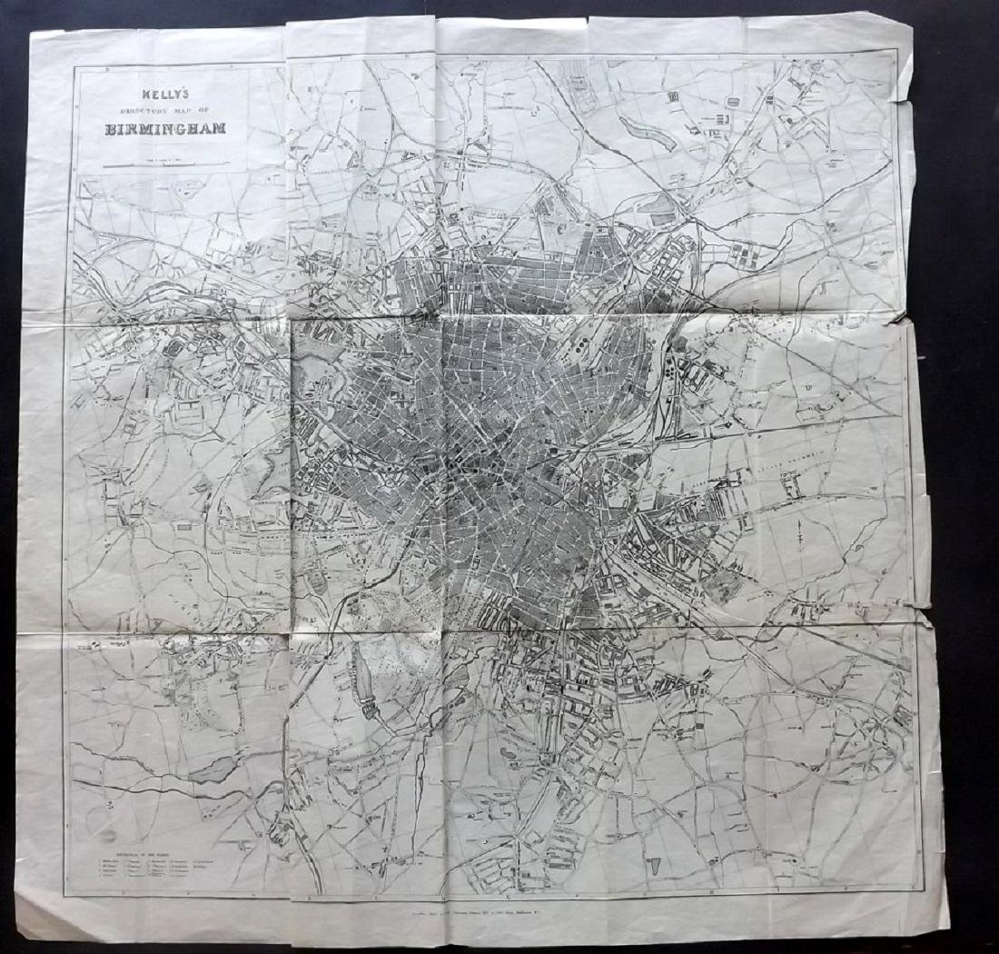 Birmingham C1900 Large Map from Kelly's Directory