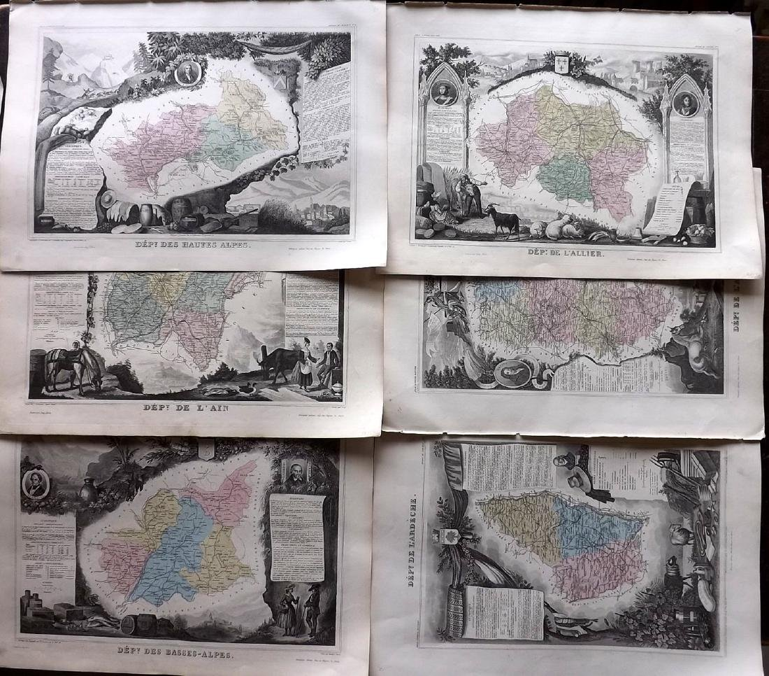 Levasseur, Victor C1850 - 6 Decorative Maps of France