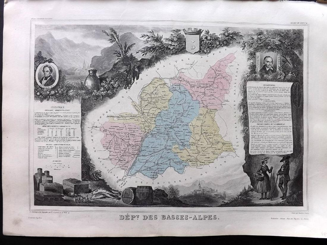 Levasseur, Victor C1850 - 6 Decorative Maps of France - 3