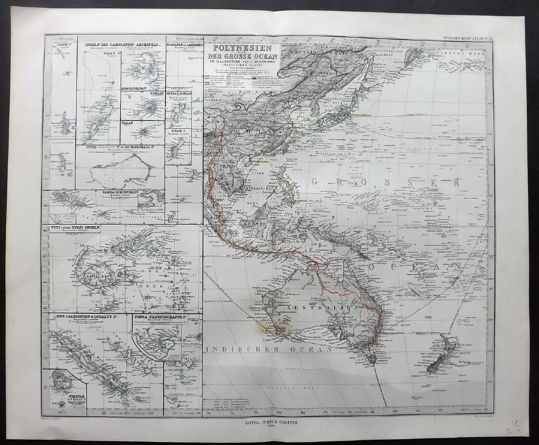 Stieler, Adolf 1874 Map Polynesia & Australia. Pacific