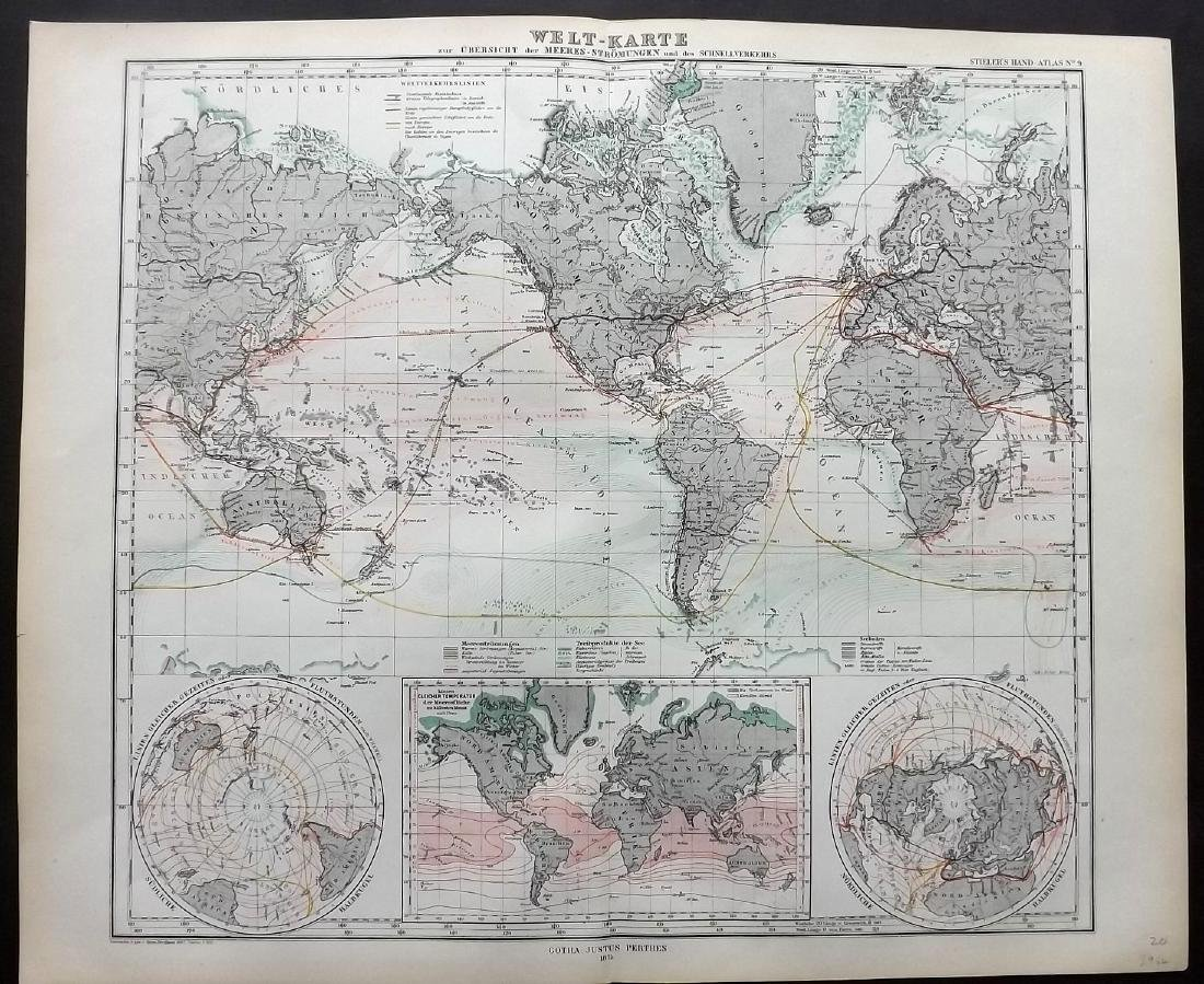 Stieler, Adolf 1874 Map of World, Tides & Currents