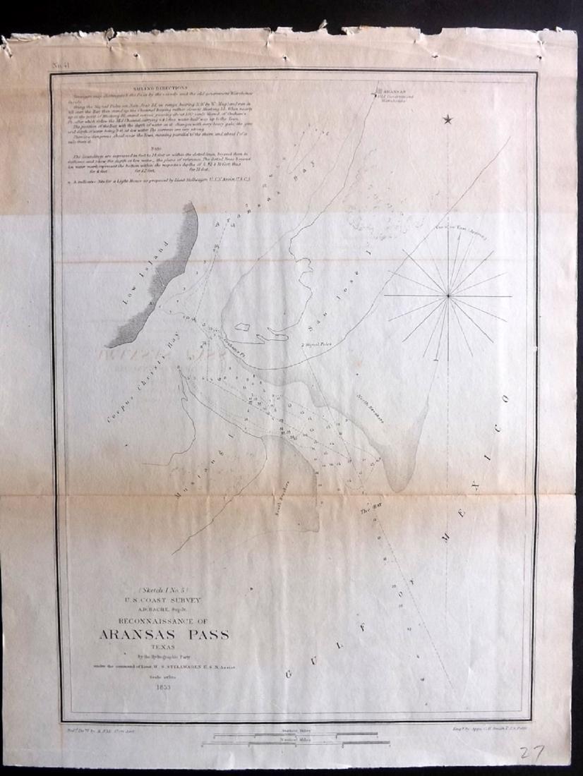 U.S. Coast Survey 1853 Map of Aransas Pass, Texas