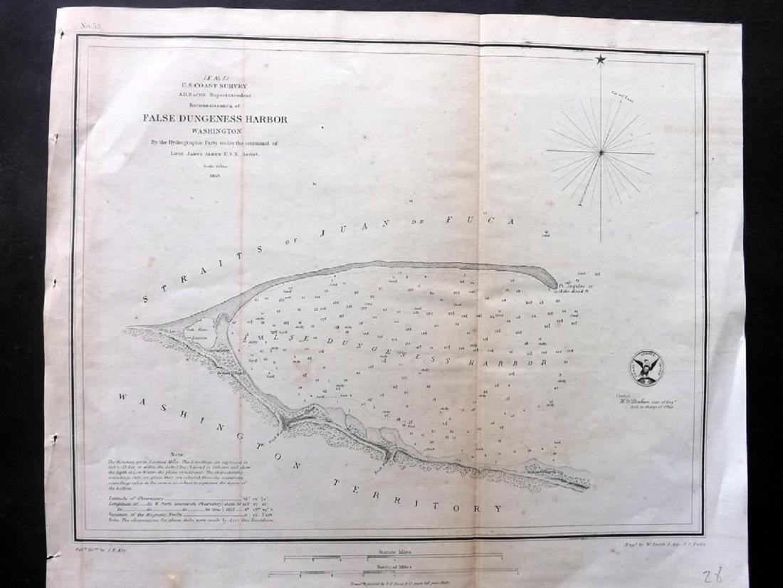 US Coast Survey 1853 False Dungeness Harbor, Washington