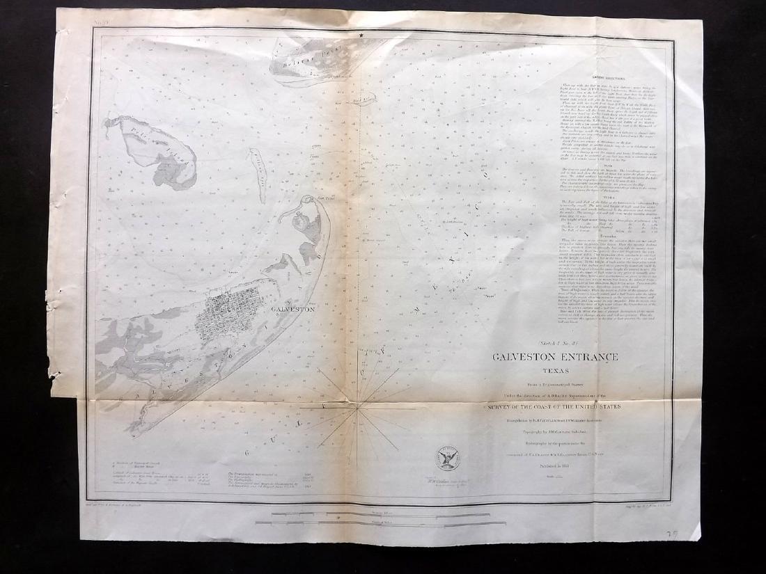 U.S. Coast Survey 1853 Map of Galveston Entrace, Texas