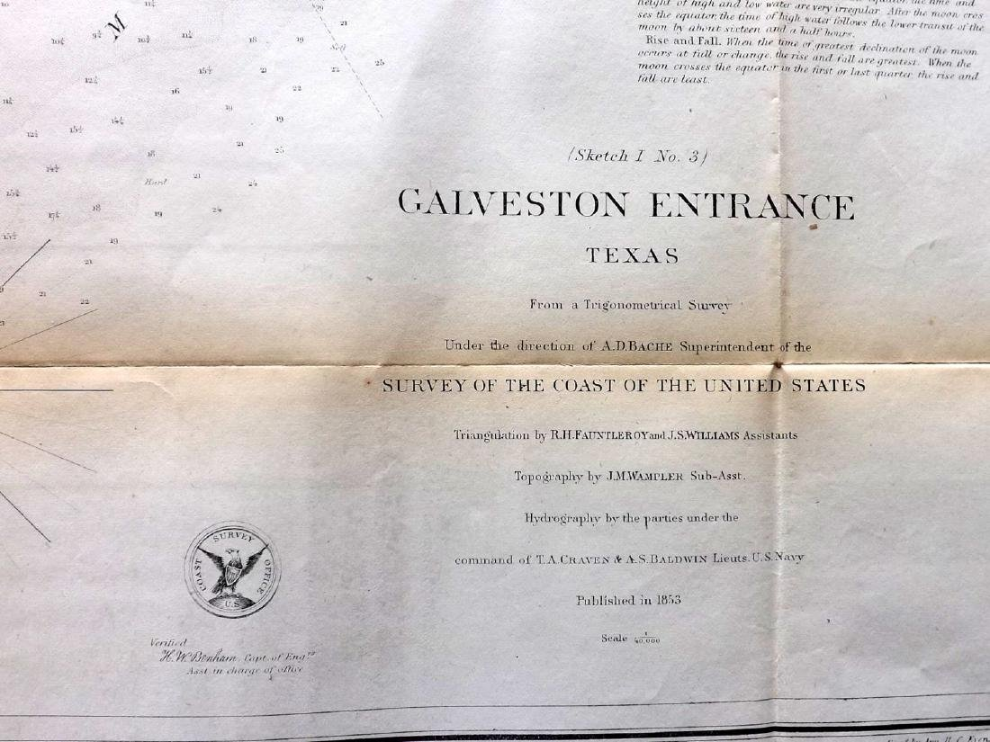 U.S. Coast Survey 1853 Map of Galveston Entrace, Texas - 2