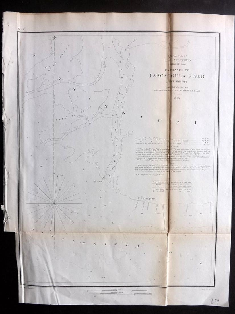 U.S. Coast Survey 1853 Pascagoula River, Mississippi