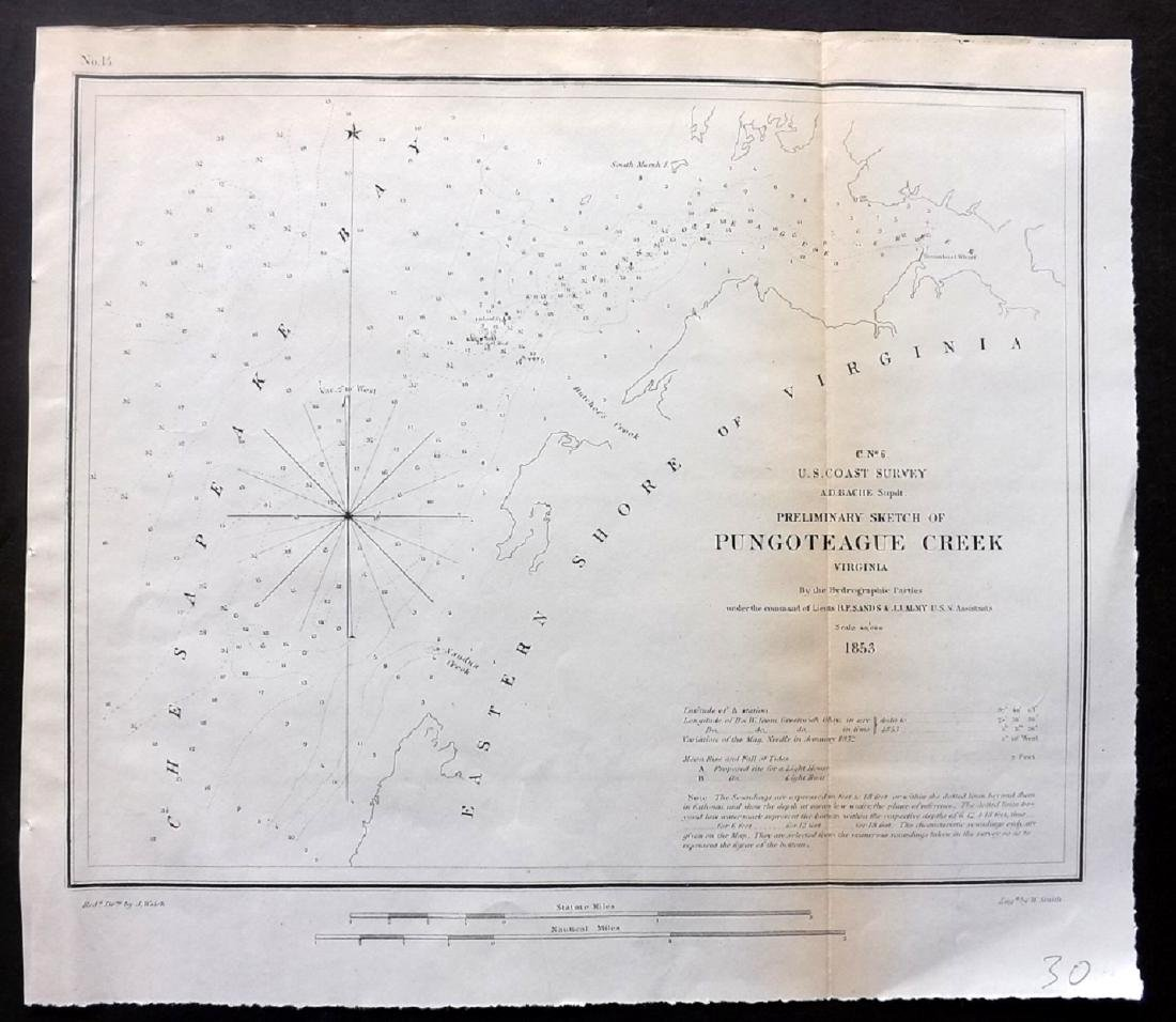 U.S Coast Survey 1853 Map of Pungoteague Creek Virginia