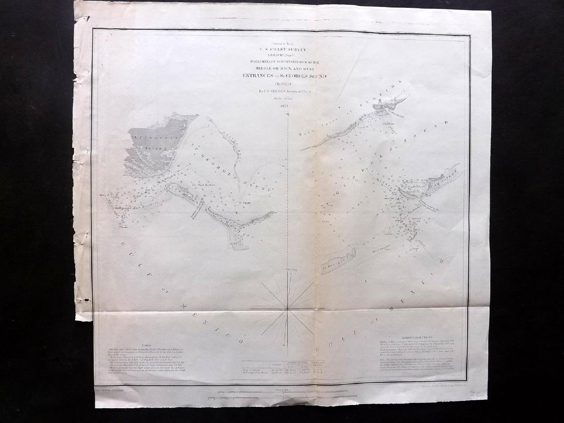 U.S. Coast Survey 1853 Map of St. Georges Sound,
