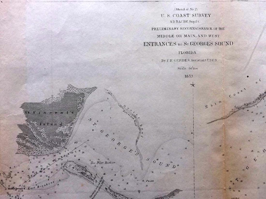 U.S. Coast Survey 1853 Map of St. Georges Sound, - 2