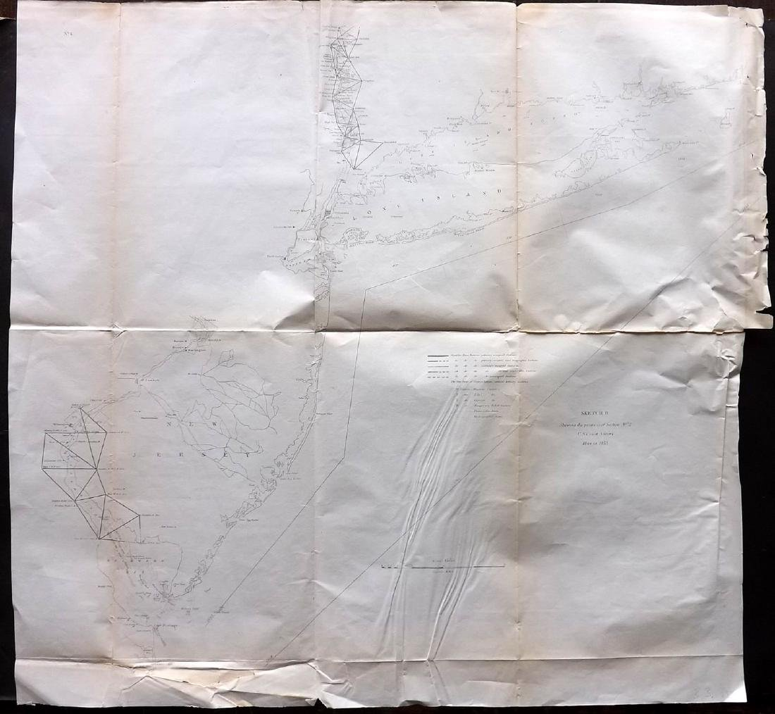 U.S. Coast Survey 1853 Map of Long Island, New Jersey