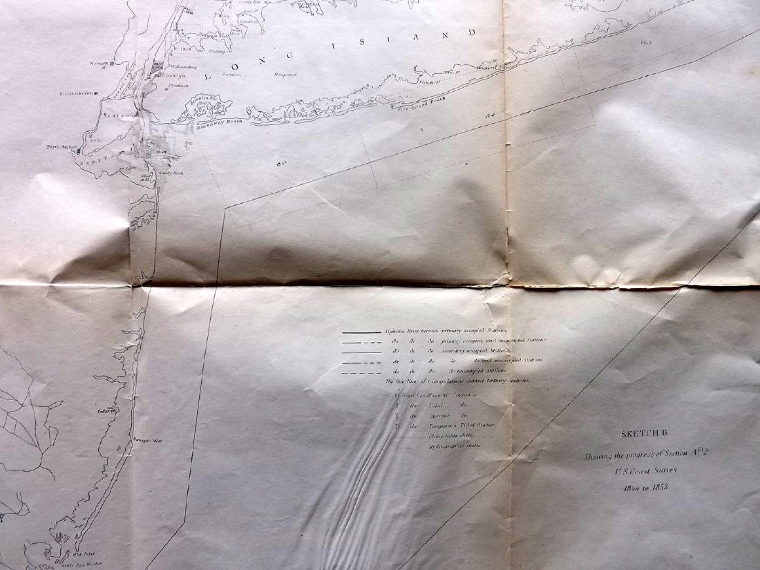 U.S. Coast Survey 1853 Map of Long Island, New Jersey - 2