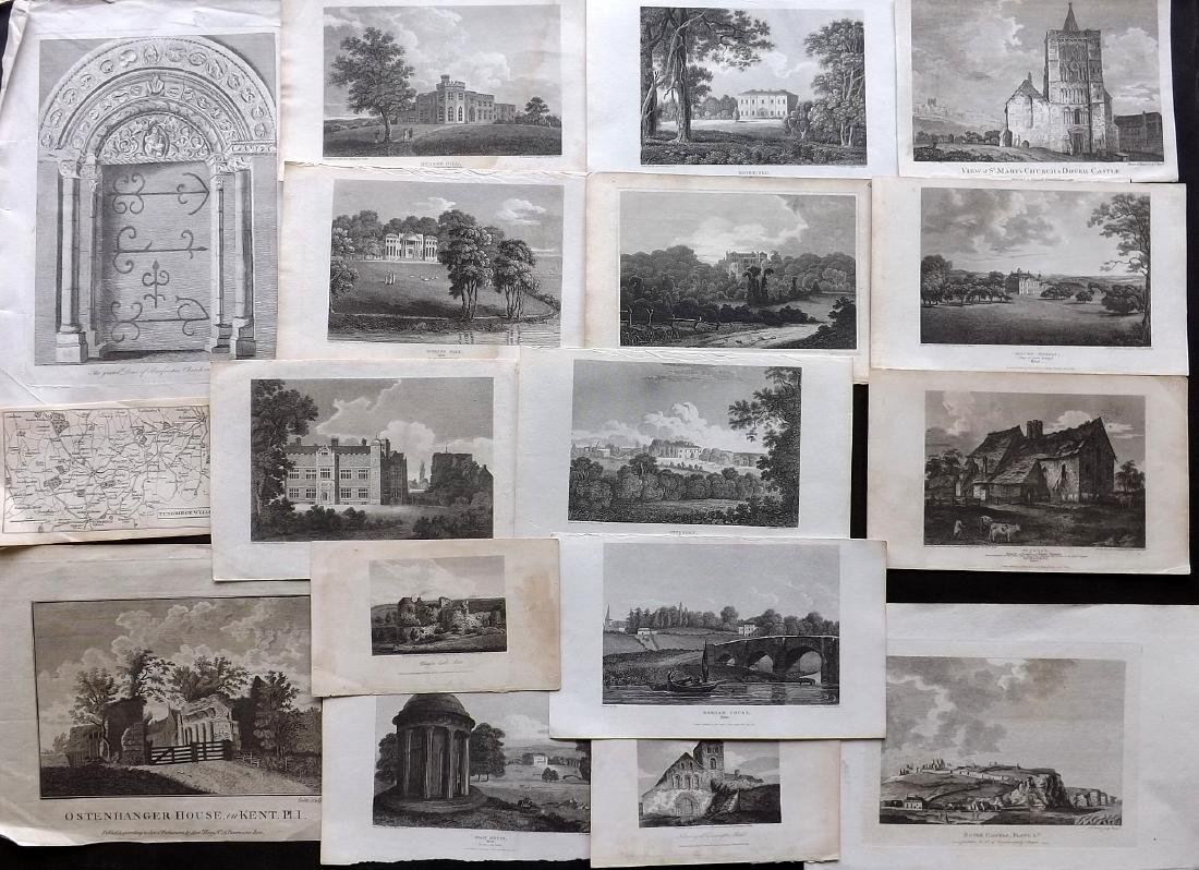 British Views - Kent 18th-19th Lot of 17 Copper Plates