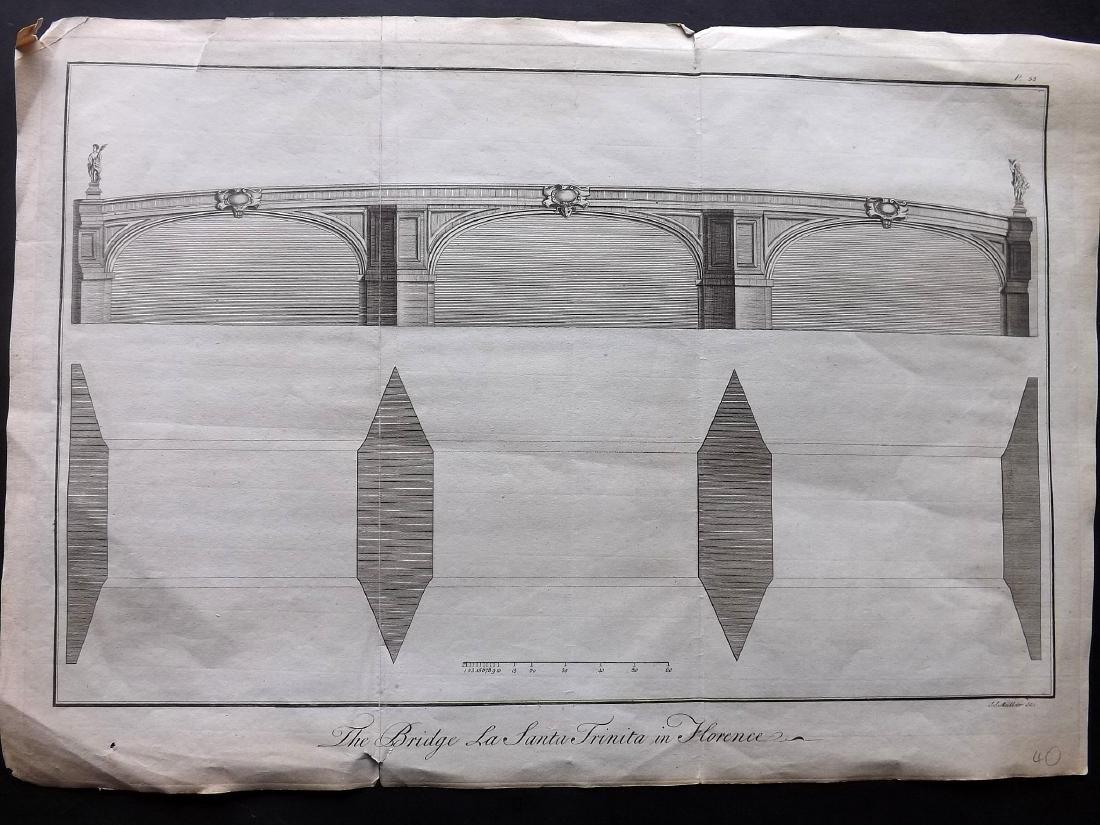 Italy 1754 Print of Santa Trinita Bridge at Florence